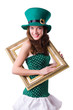 Saint Patrick holiday concept with woman and frame