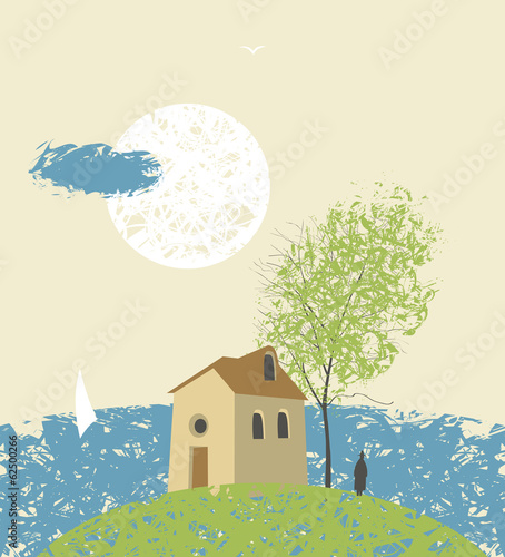 Landscape with an island on the beach with house and tree
