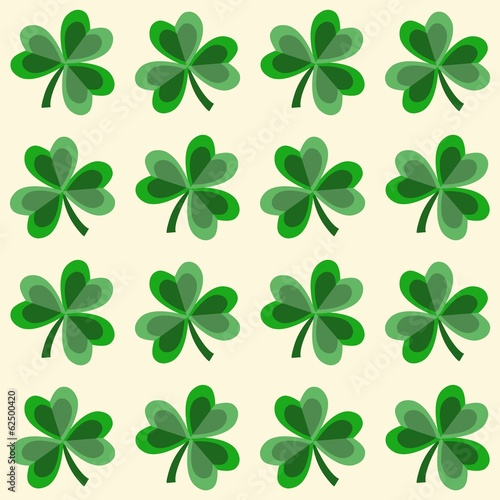 Cute seamless shamrock clover pattern, vector