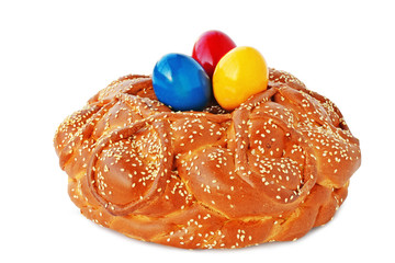 Easter bread on white