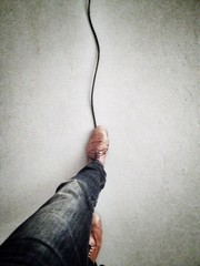 balancing on cable