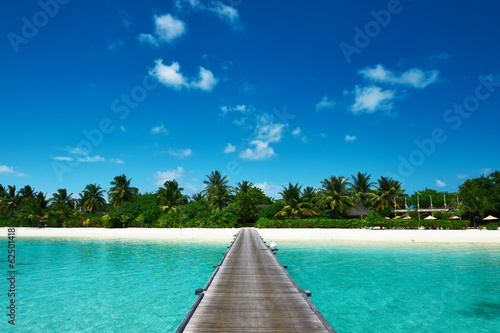 Fototapeta Beautiful beach with jetty