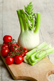fresh organic fennel, celery and tomatoes