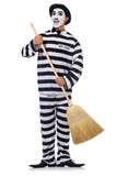 Prisoner with broom isolated on the white
