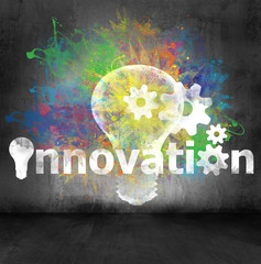 innovation symbol on concrete wall background