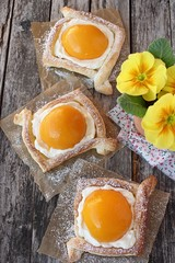 """Puff pastry tarts. Eastern sweet """"eggs"""". Selective focus."""