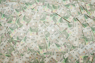 Polish money in denominations of 100 PLN