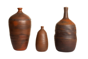 three ceramic vases isolated on white background