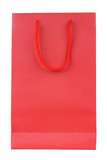 Blank red shopping bag isolated on white background