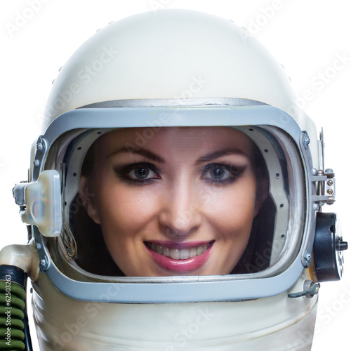 Beauty astronaut isolated on a white background. Space beauty