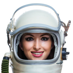 Young smiling woman wearing space helmet isolated on white