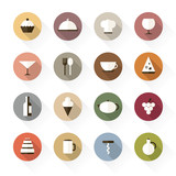 Food and drinks icons in flat design, with long shadows