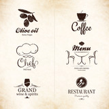 Label set for restaurant, cafe, bar, coffee house