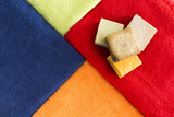 Vibrant colorful towels with organic soap
