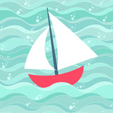 Cartoon style boat against wave background