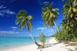 Leinwanddruck Bild - Beautiful Beach on Aitutaki Island, Cook Islands
