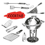 Set of barbecue utensils. Hand drawn illustrations