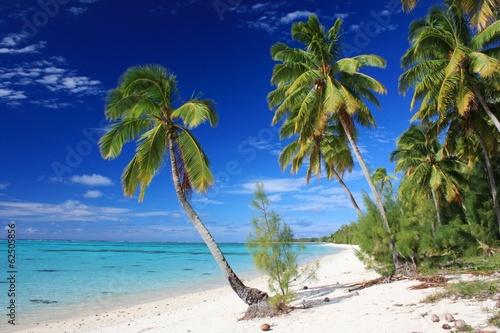 Leinwanddruck Bild Beautiful Beach on Aitutaki Island, Cook Islands