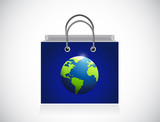 blue planet shopping bag illustration design