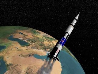 Saturn V spaceship - 3D render