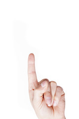 Man hand pointing up on white background