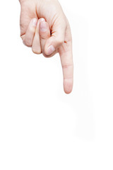 Man hand pointing down on white background
