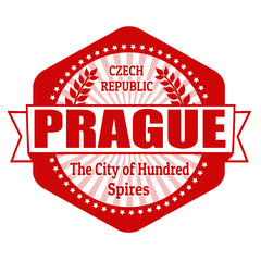 Prague capital of Czech Republic label or stamp