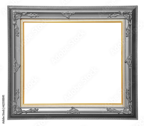 Bronze photo wooden frame over white background, clipping path.