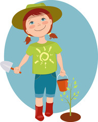 Little girl gardener