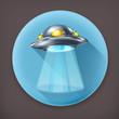 UFO, long shadow vector icon