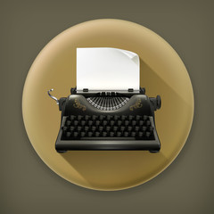 Typewriter long shadow vector icon