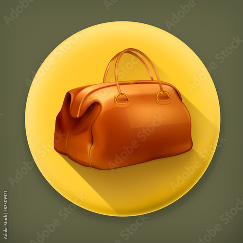 Vintage bag long shadow vector icon