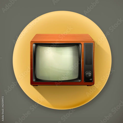 TV set retro long shadow vector icon
