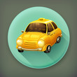 Taxi, long shadow vector icon
