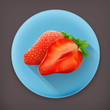 Strawberry long shadow vector icon