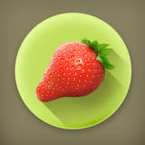 Strawberry, long shadow vector icon