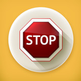 Stop sign long shadow vector icon