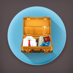 Suitcase long shadow vector icon