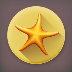 Starfish long shadow vector icon