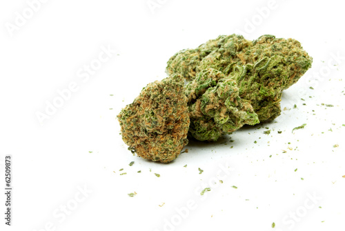 Marijuana and Cannabis, White Background