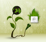 Green grass and socket plug