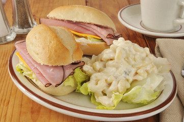 Ham sandwich and macaroni salad