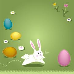 Easter Bunny Hopping Through Grass