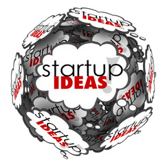 Startup Ideas Thought Cloud Brainstorm New Business Company Laun