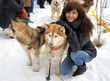 Young woman and dog siberian husky