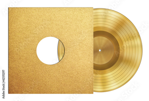 gold record music disc award in sleeve isolated