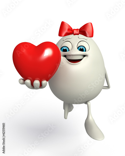 Happy Egg with red heart shape
