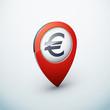 icône épingle punaise marqueur carte euro argent finance