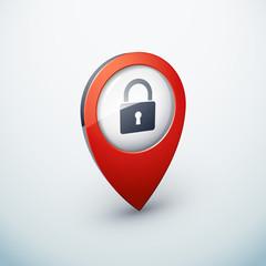 icône épingle punaise marqueur carte cadenas sécurité