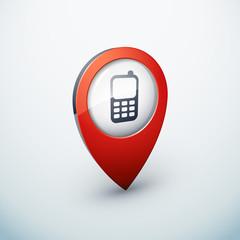 icône épingle punaise marqueur carte téléphone